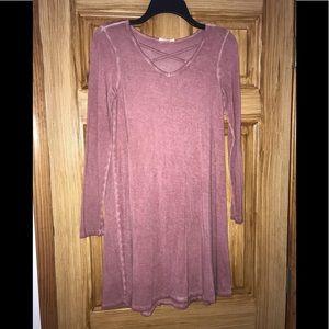 ultra flirt Mauve Long Sleeve T-shirt Dress